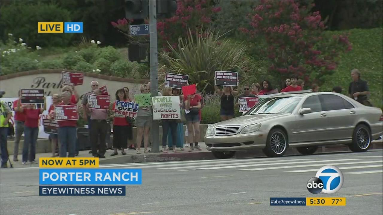 Porter Ranch residents are protesting the states decision to allow operations to resume at the Southern California Gas Aliso Canyon facility.