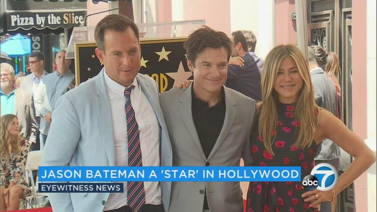 Jason Bateman (center) was joined by Jennifer Aniston and Will Arnett as he received his star on the Hollywood Walk of Fame.