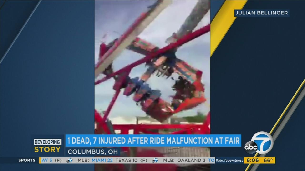 Video shows the moment an Ohio State Fair ride called Fireball broke apart during operation, leaving 1 dead and seven hurt on Wednesday, July 26, 2017.