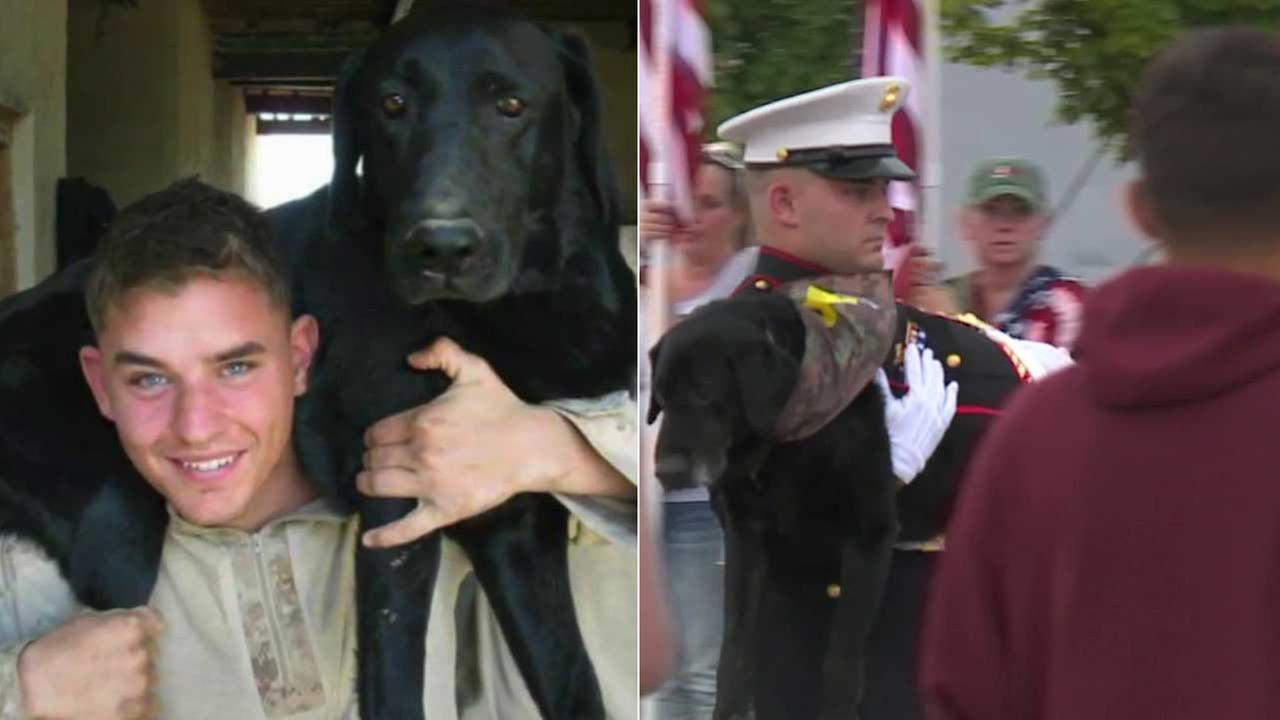 Lance Cpl. Jeff DeYoung and his service dog Cena are seen in photos.