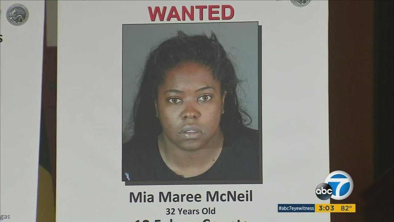 Investigators are still looking for Mia Maree McNeil, a 32-year-old woman from Los Angeles. Shes facing 12 felony counts including identity theft.