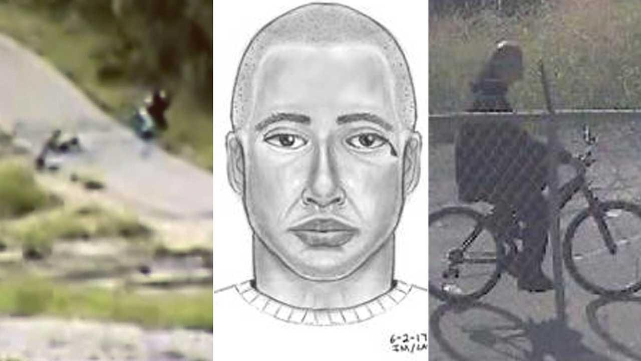 Detectives released surveillance video and a sketch in hopes of catching a sexual predator who assaulted a woman who was jogging in South El Monte on June 1, 2017.