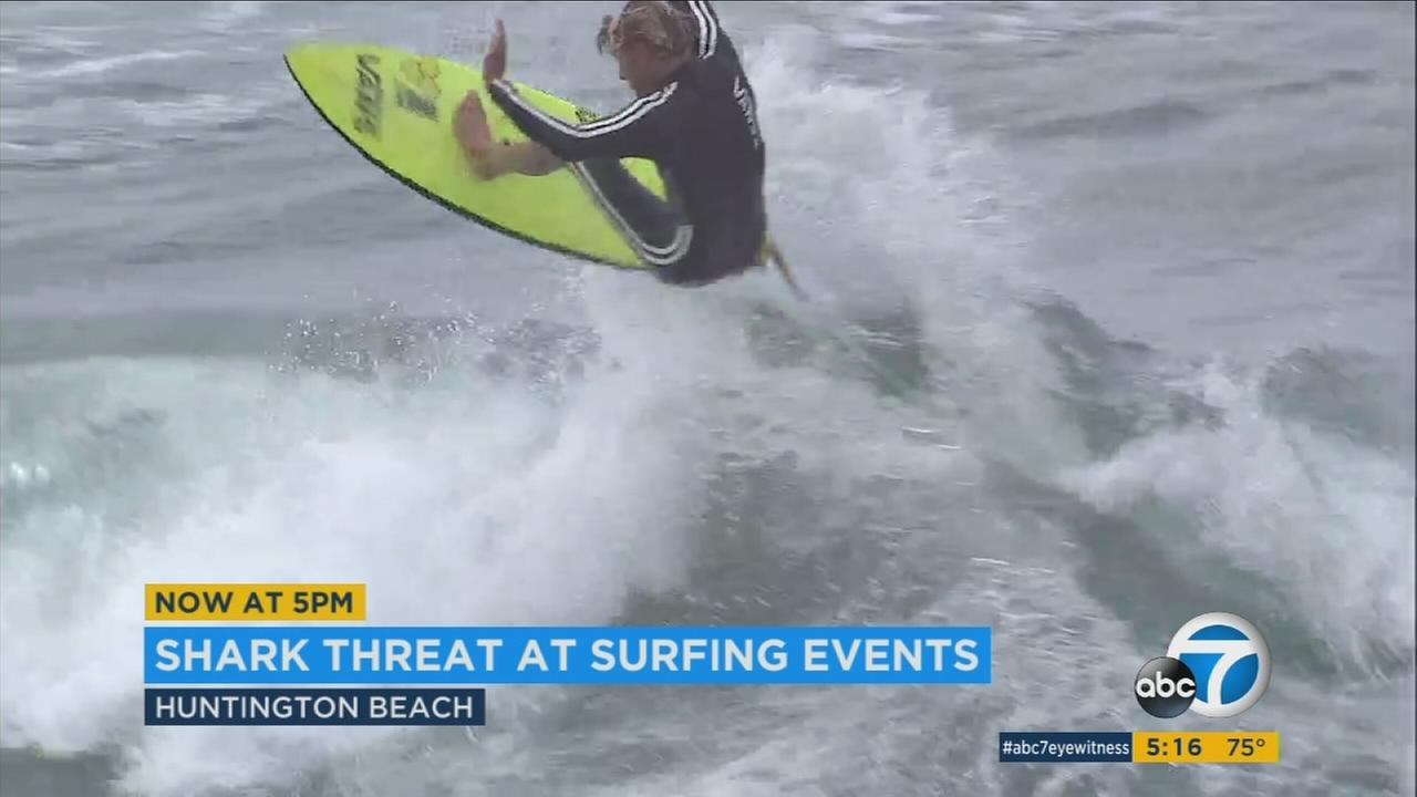 Two hundred of the worlds best surfers are competing in Huntington Beach on Saturday, but with 18 shark sightings so far this year, precautions are being taken.