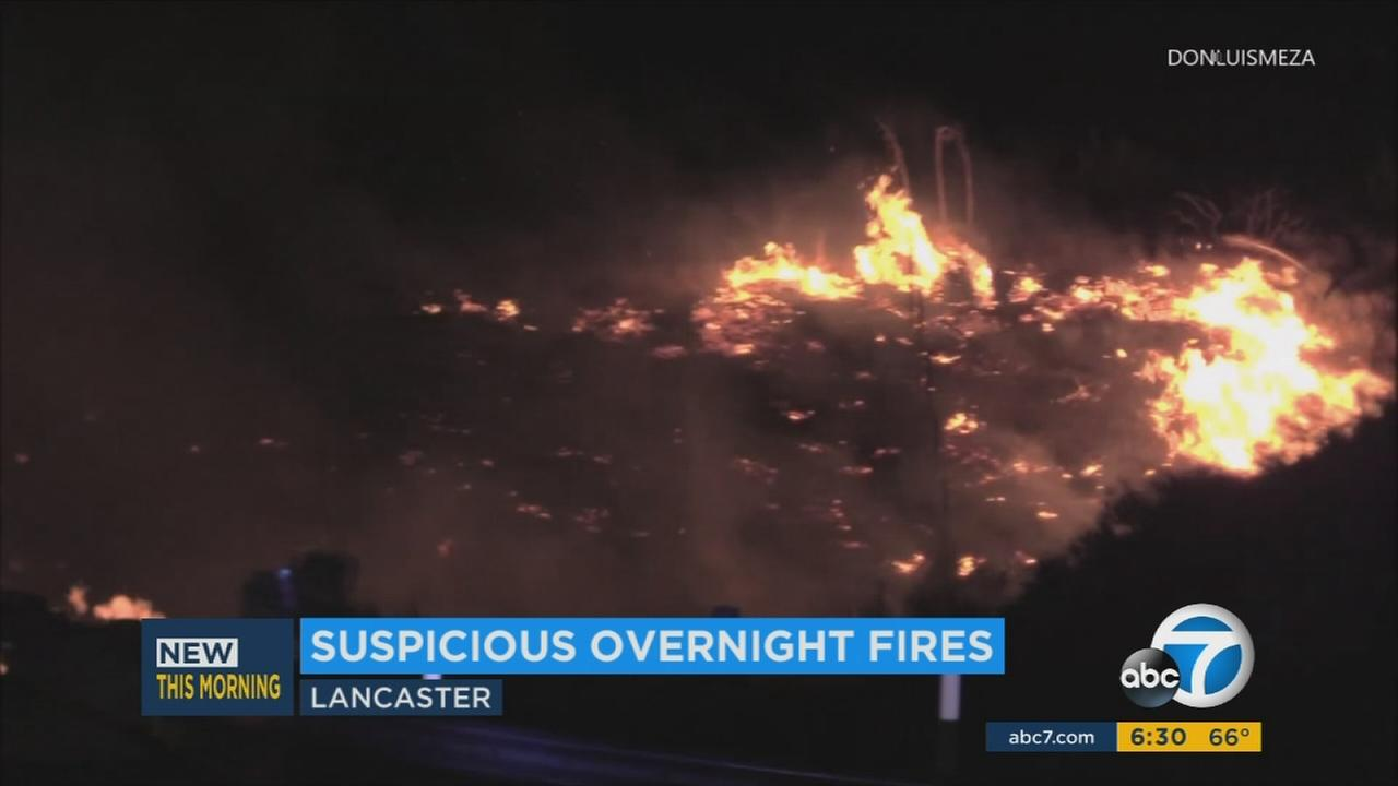 Seven suspicious brush fires broke out overnight in the Lancaster and Palmdale areas on Saturday, July 29, 2017.