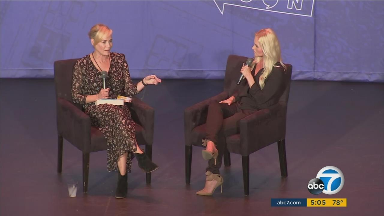Comedian Chelsea Handler and Tomi Lahren are shown during an interview at Politicon in Pasadena on Saturday, July 29, 2017.