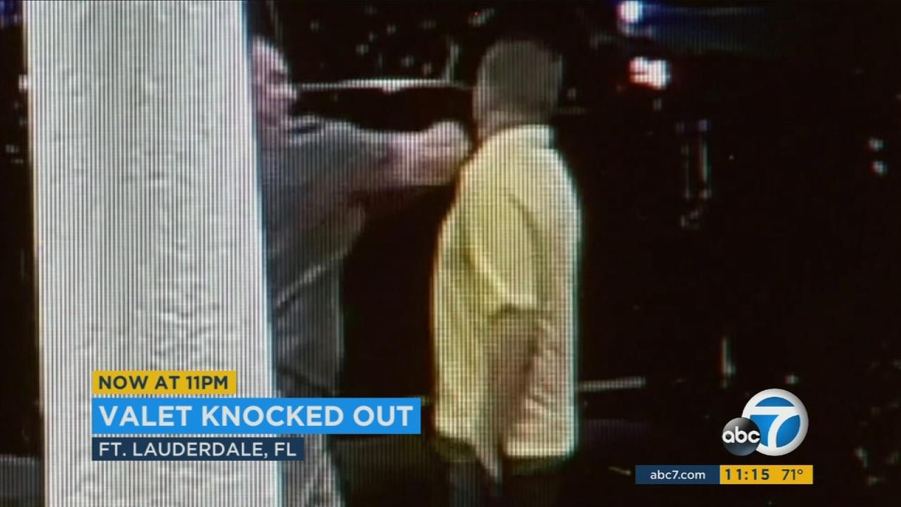 An angry hotel guest suddenly knocked out a valet at a resort in Fort Lauderdale, Florida, earlier this week and the shocking punch was caught on camera.