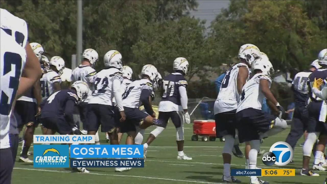 Los Angeles Chargers members practiced football on their first day of training camp in Costa Mesa on Sunday, July 30, 2017.