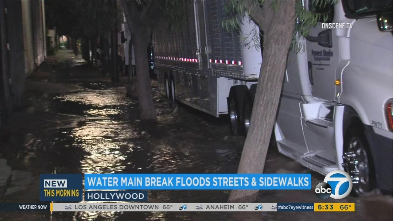 A major intersection in the heart of Hollywood was shut down Monday July 31, 2017, due to a water main break that left an intersection flooded.