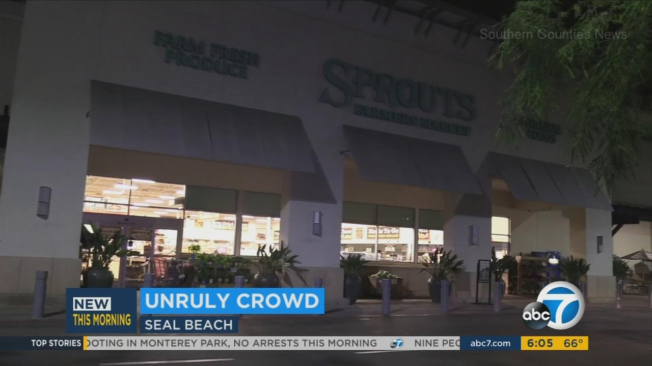 A Sprouts in Seal Beach is shown after a man was arrested for recklessly driving in the back parking lot of the grocery store.