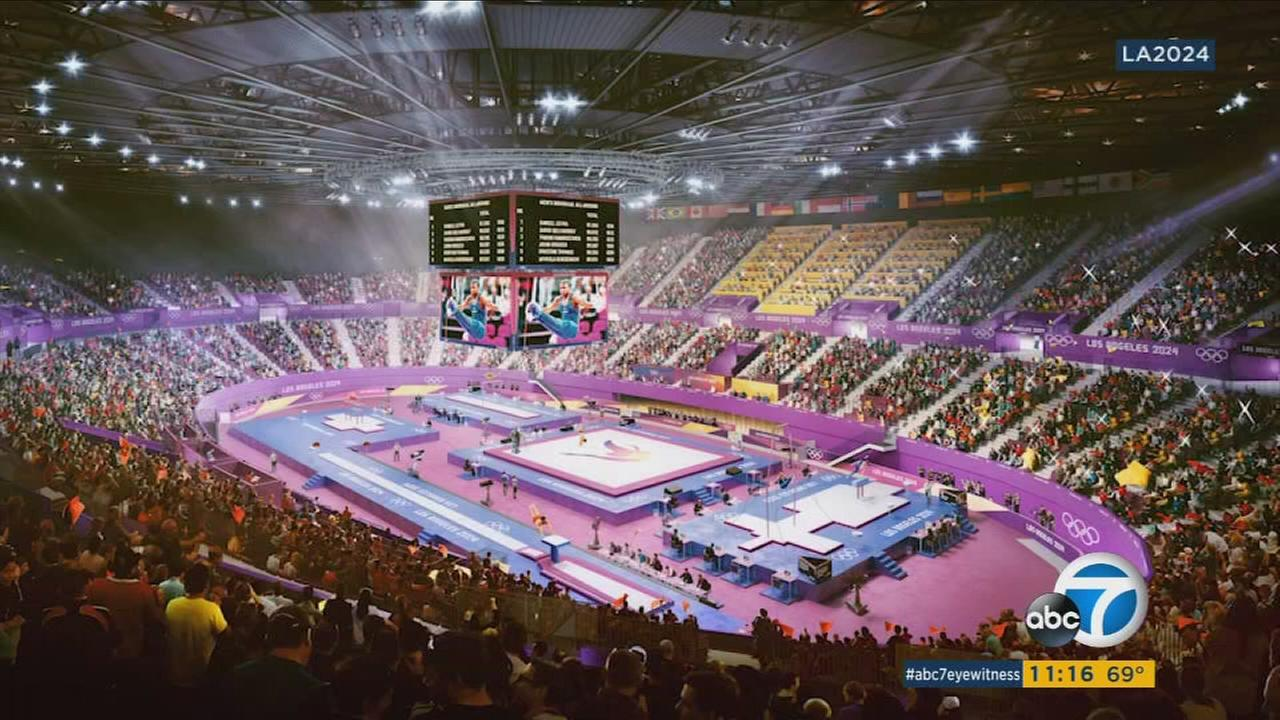 A rendering of a gymnastics set up in The Forum is shown during the bid for the 2024 Olympics.