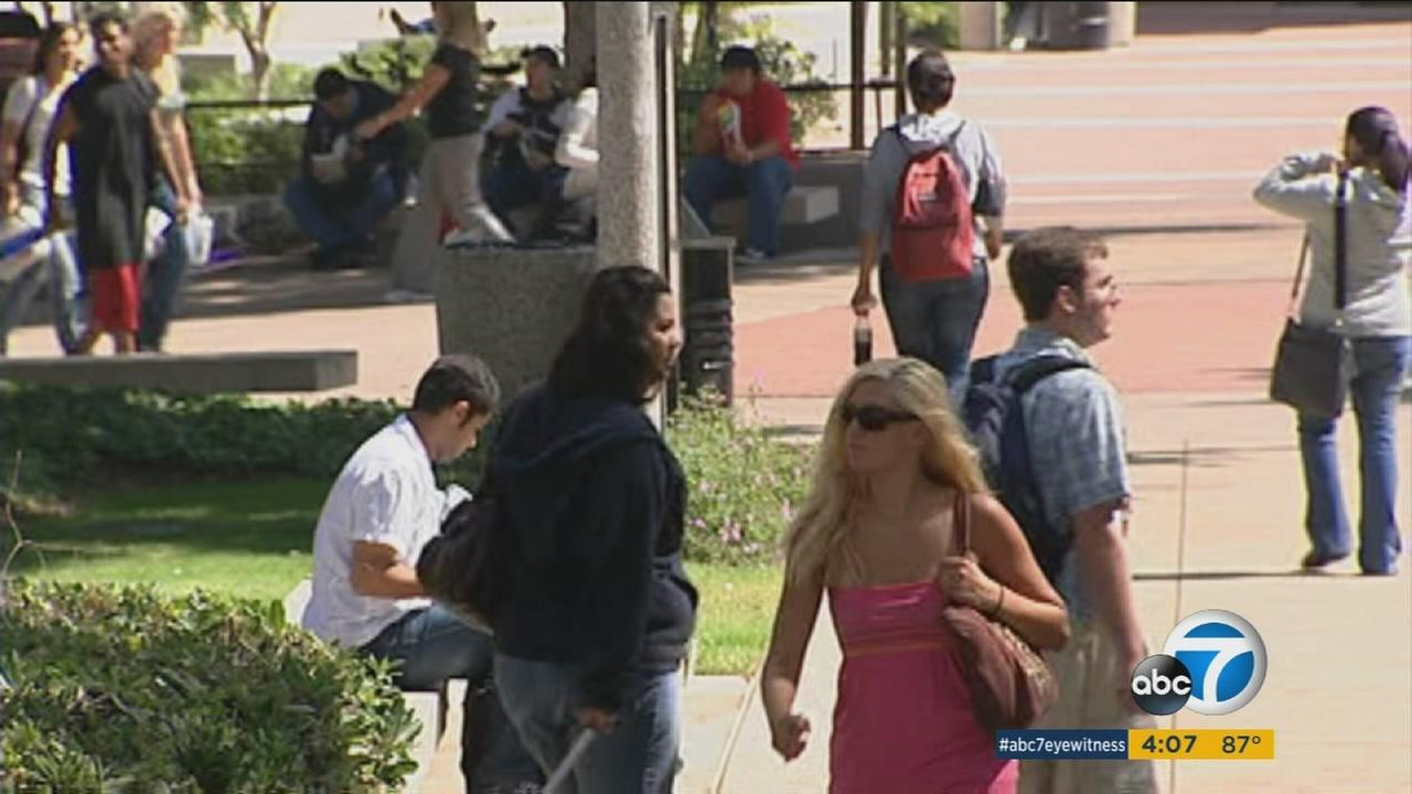 An undated photo of college students at a Southern California college campus.