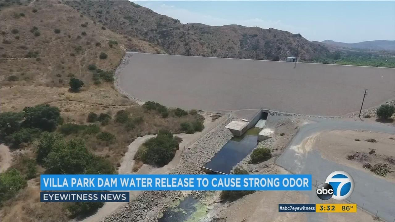 The Orange County Villa Park Dam is shown in footage from the ABC7 Drone.