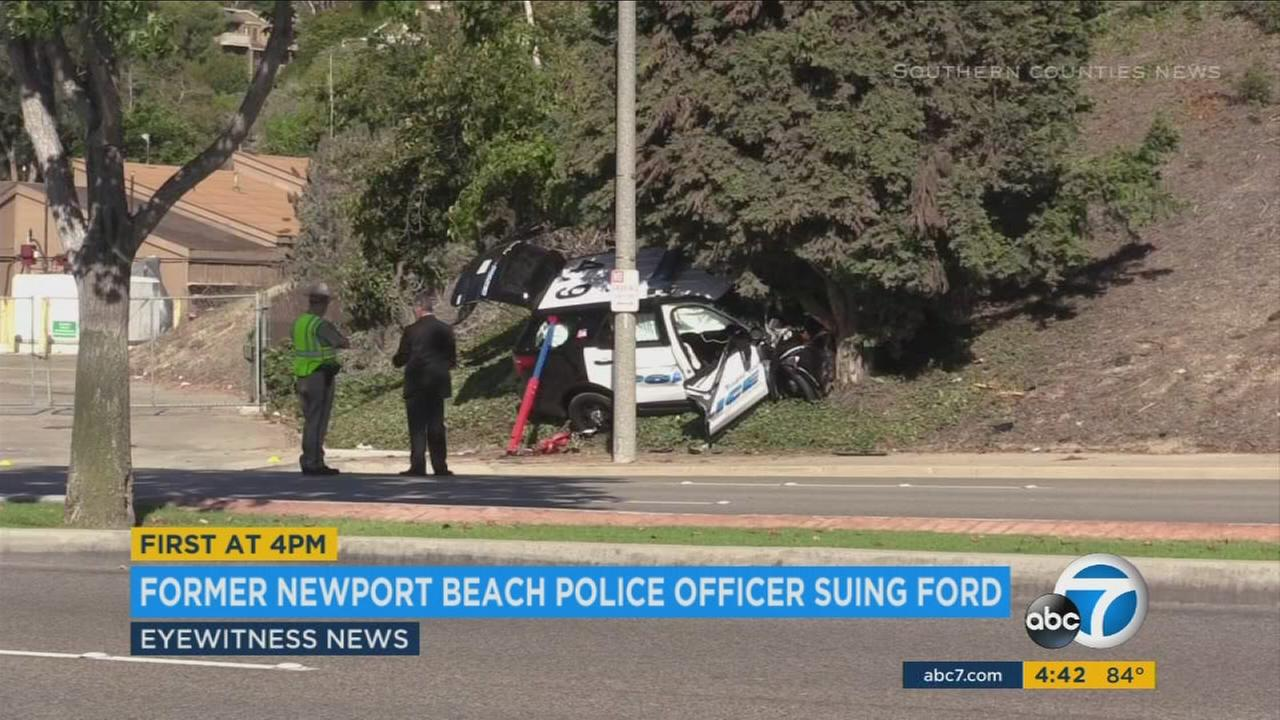A video from a news stringer shows the scene of a 2015 crash when a former Newport Beach officer suffered carbon monoxide poisoning and crashed.