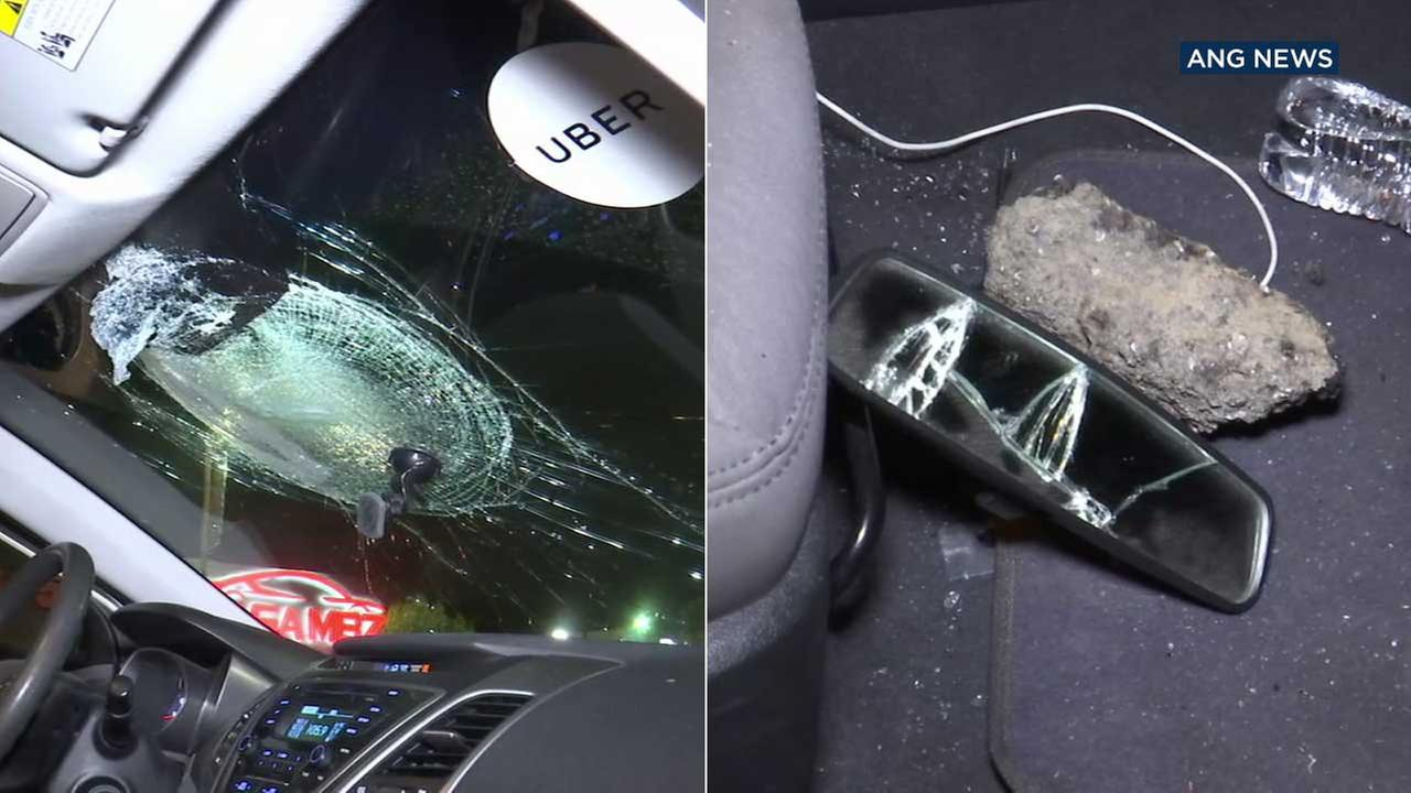 A chunk of concrete smashed through the windshield of an Uber car along the 101 Freeway in Silver Lake on Friday, Aug. 4, 2018.
