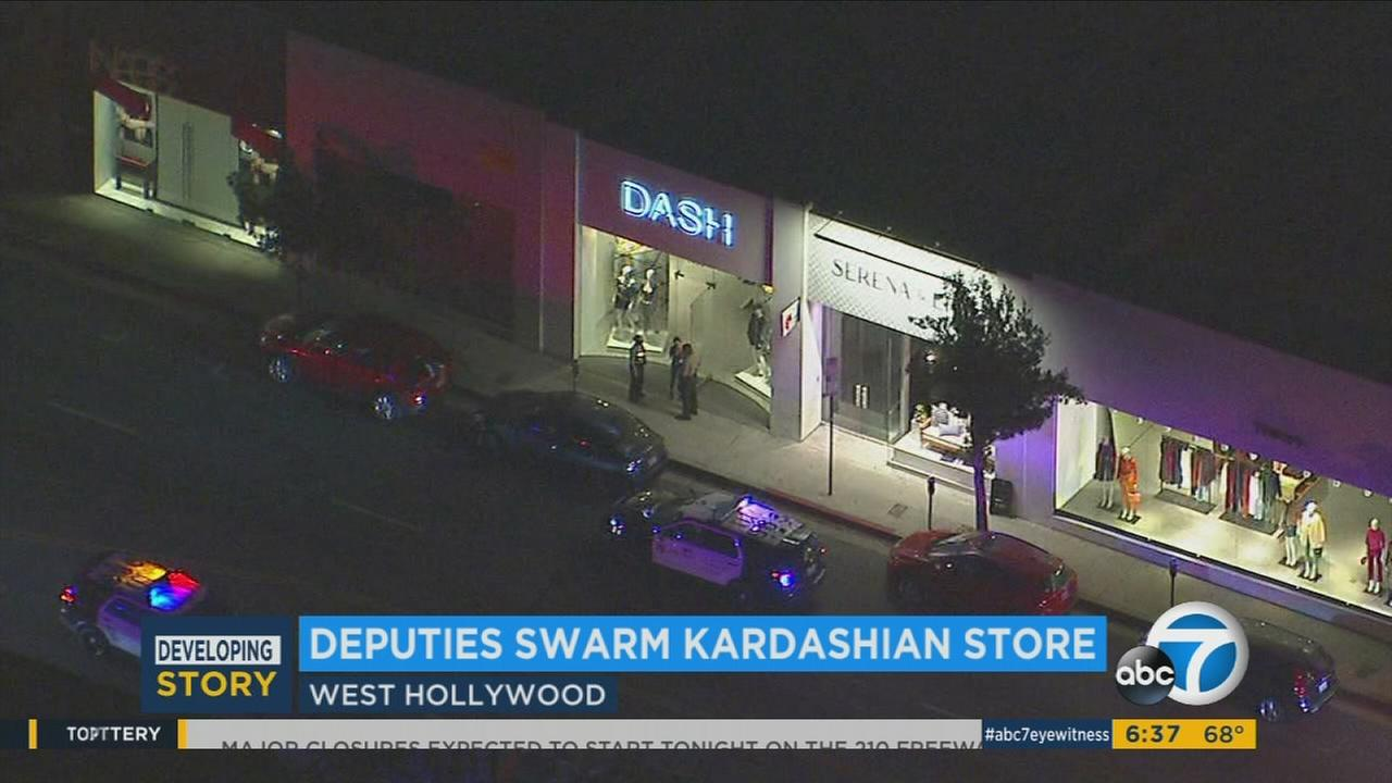 Los Angeles County sheriffs deputies on Tuesday, Aug. 8, 2017, are investigating an odd call for help at Dash, a posh West Hollywood boutique owned by the Kardashians.