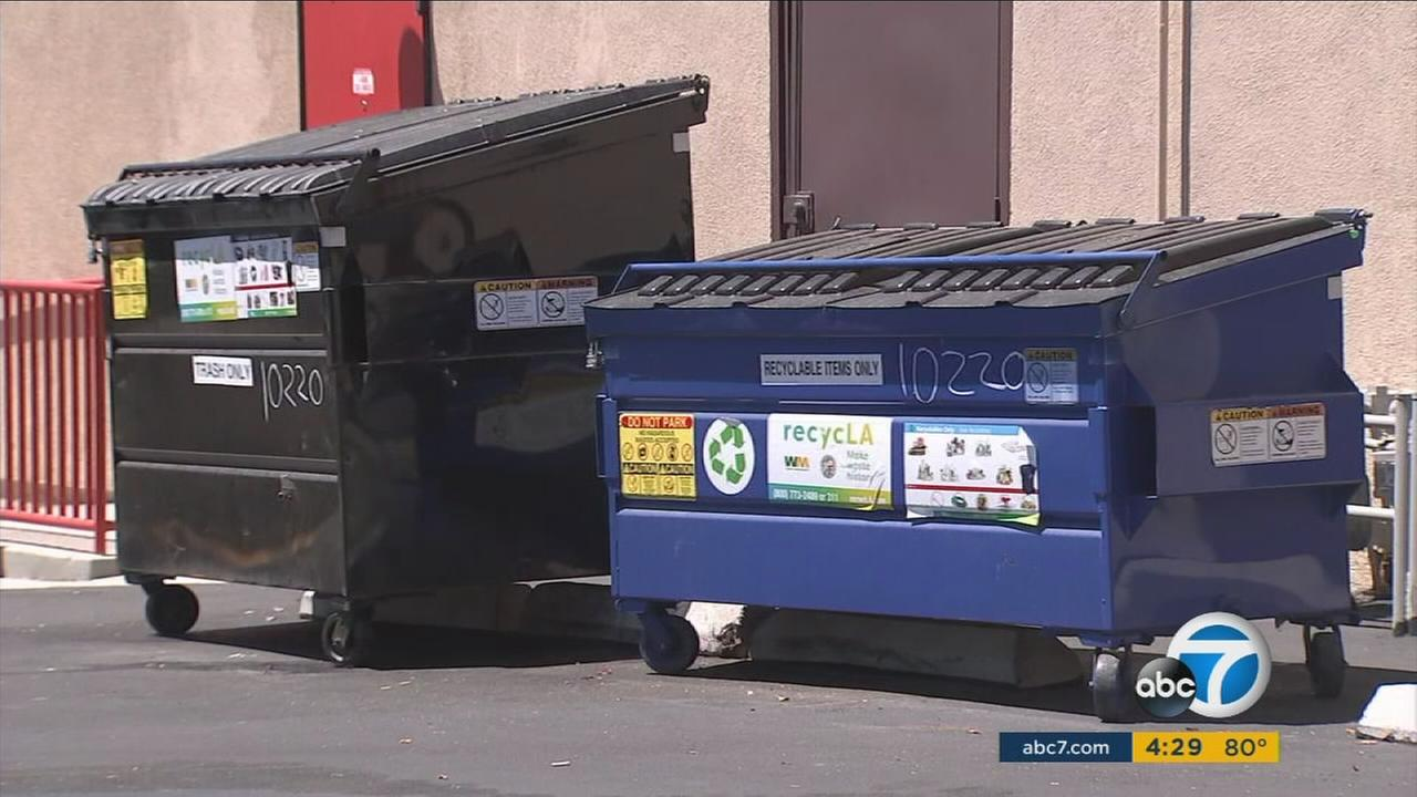Two trash bins that are part of recycLA, a new waste management program in Los Angeles, are shown.