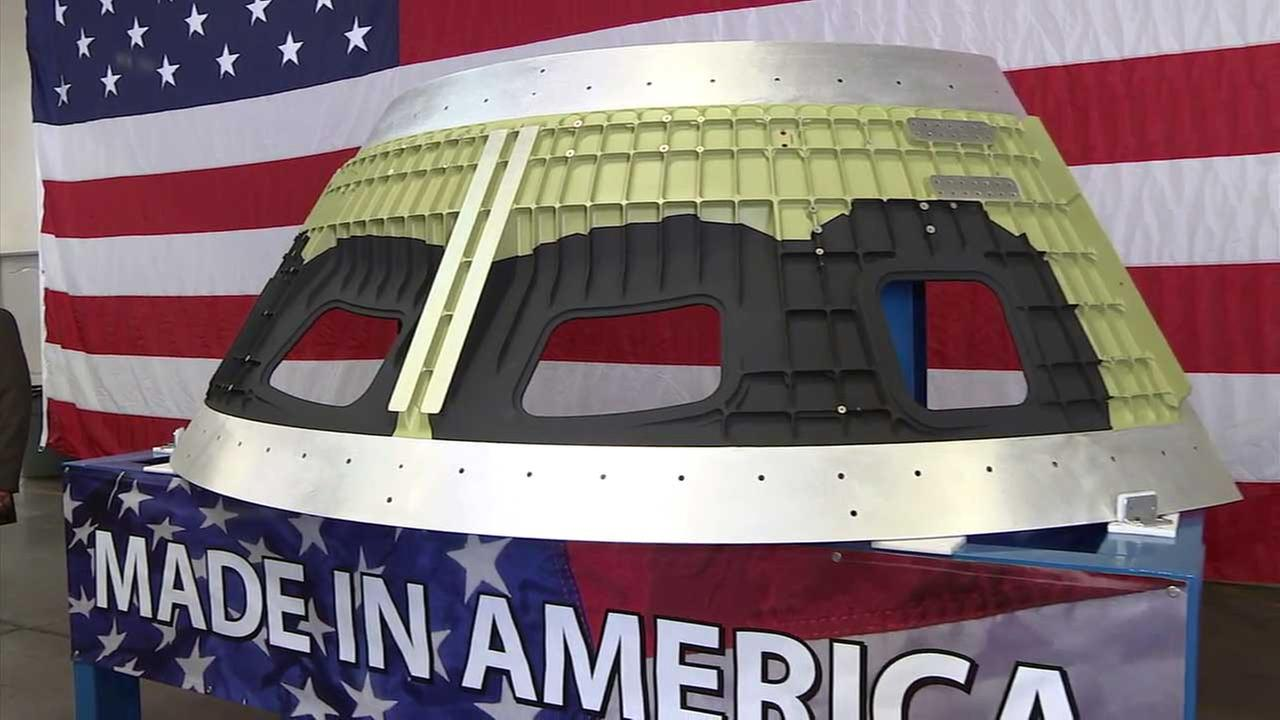 A part created by Amro Fabricating Corporation in South El Monte is seen at an unveiling event on Wednesday, Aug. 10, 2017.