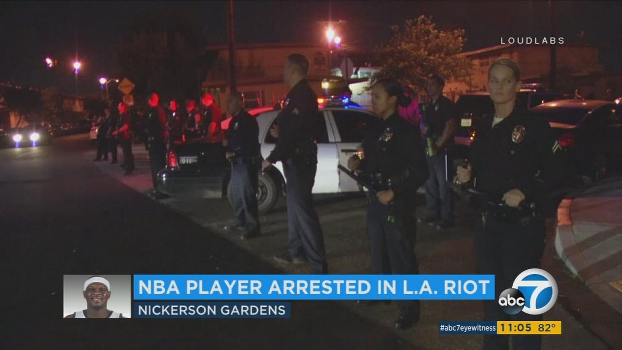 LAPD officers responded to a call about an unruly crowd in Watts on Wednesday, Aug. 9, 2017.