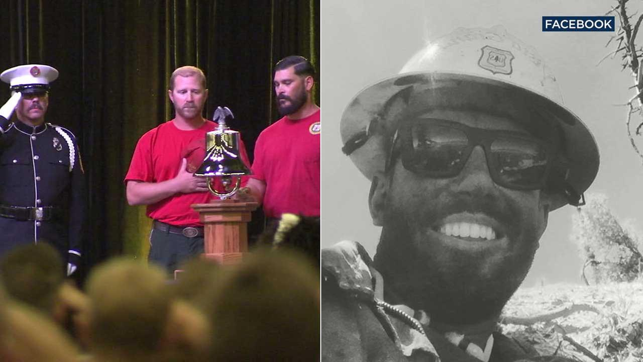 (Right) Brent Witham is seen in a Facebook photo. (Left) Withams colleagues are seen at a public memorial in his honor on Thursday, Aug. 10, 2017.