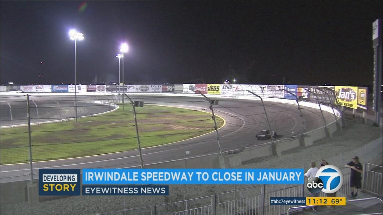 The race track is shown at the Irwindale Speedway.