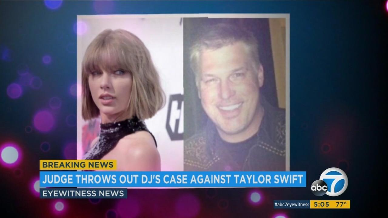 Taylor Swift and a Denver DJ David Mueller are shown in split photos.