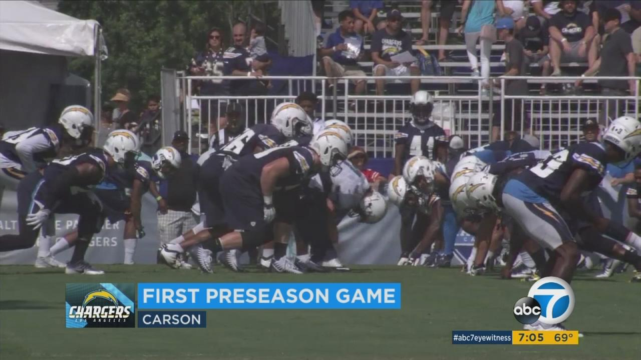 Los Angeles Chargers players practice in this file photo.