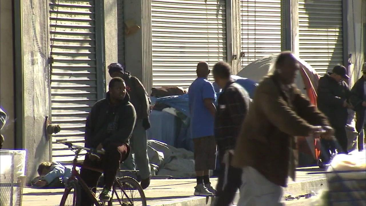 Homeless people in Los Angeles are shown on Skid Row in this file photo.