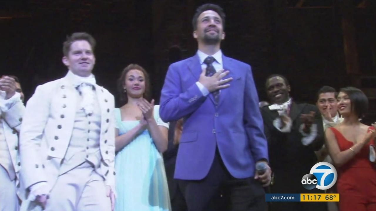 Lin Manuel-Miranda was on stage after the production of Hamilton at the Pantages Theatre in Hollywood.