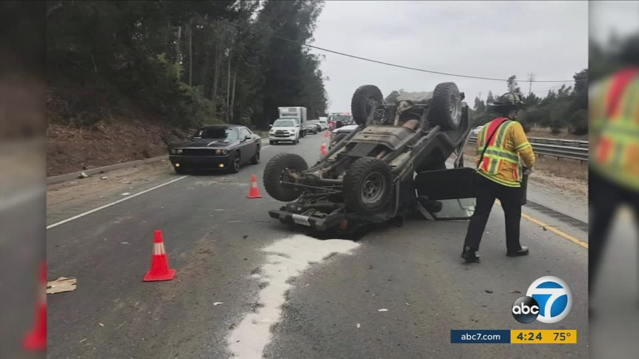 In an incident tinged with irony, a suspected DUI drivers vehicle overturned after he slammed into a roadside sign in Santa Cruz that read REPORT DRUNK DRIVERS, CALL 911.