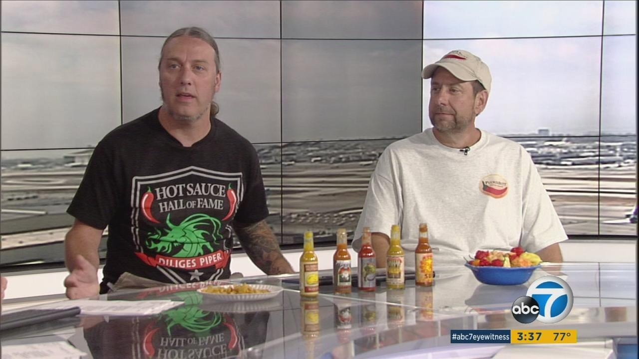 Steve Seabury and Ed Currie are shown talking about their third annual Hot Sauce Expo in Anaheim on Friday, Aug. 18, 2017.