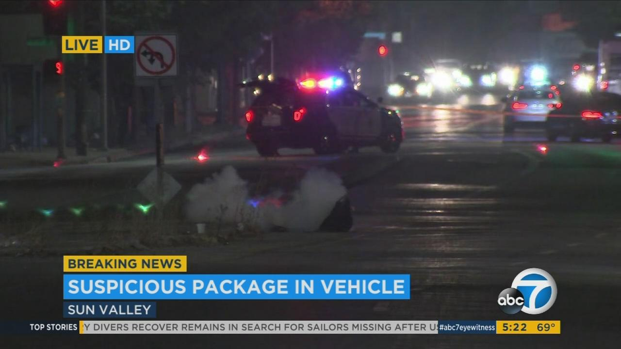 Los Angeles police bomb squad crews blew up a suspicious item found near the 5 Freeway in Sun Valley.