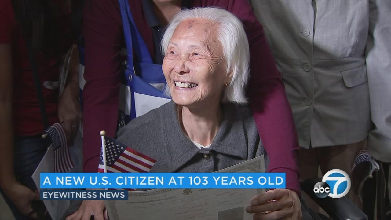 A 103-year-old Cambodian woman who survived war, starvation and violence, is now a United States citizen.