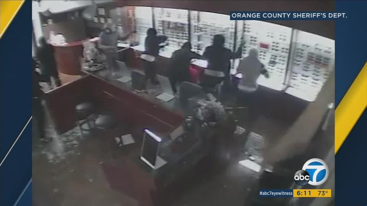 A gang of at least 12 thieves are seen stealing sunglasses from a Laguna Hills business.
