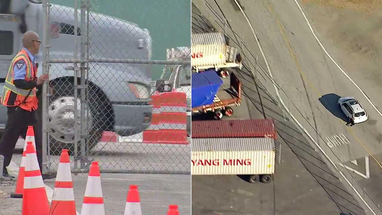 (Left) A security guard closes a fence at the Port of Los Angeles. (Right) A car theft suspect evades police.
