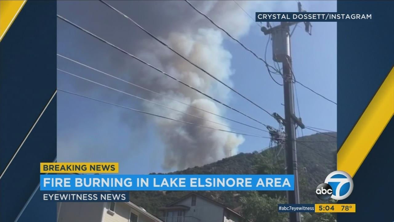 A brush fire erupted in the foothills southwest of Lake Elsinore on Sunday, Aug. 27, 2017, prompting a response from multiple fire agencies.