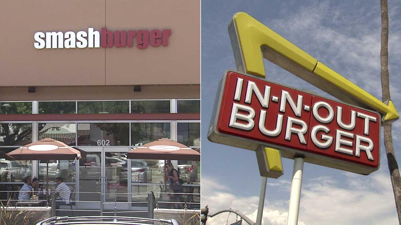Smashburger and In-N-Out signs are seen in these file photos.