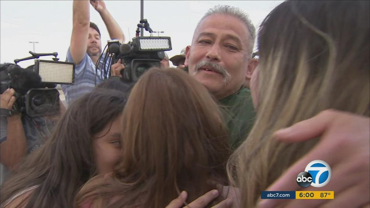 Romulo Avelica-Gonzalez is reunited with his family after being released on bond during his immigration case.