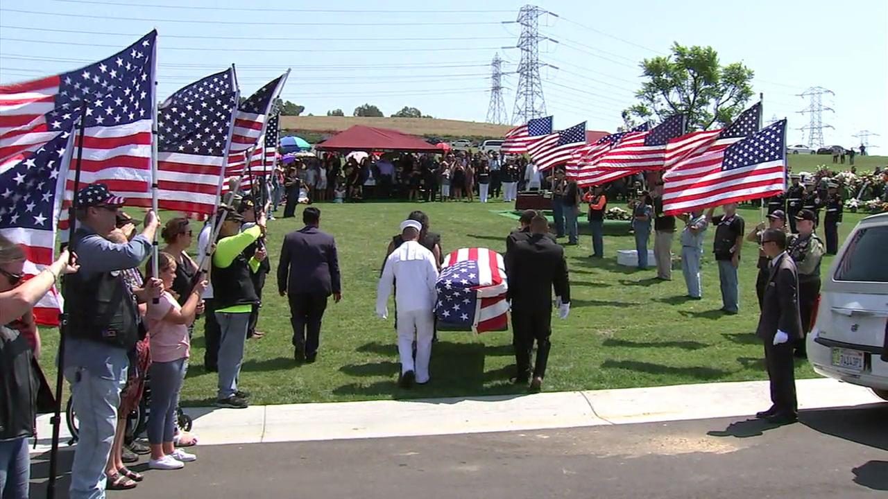 U.S. Marines carried their fallen serviceman Ruben Velasco to his final resting place during his funeral in Whittier on Thursday, Aug. 31, 2017.