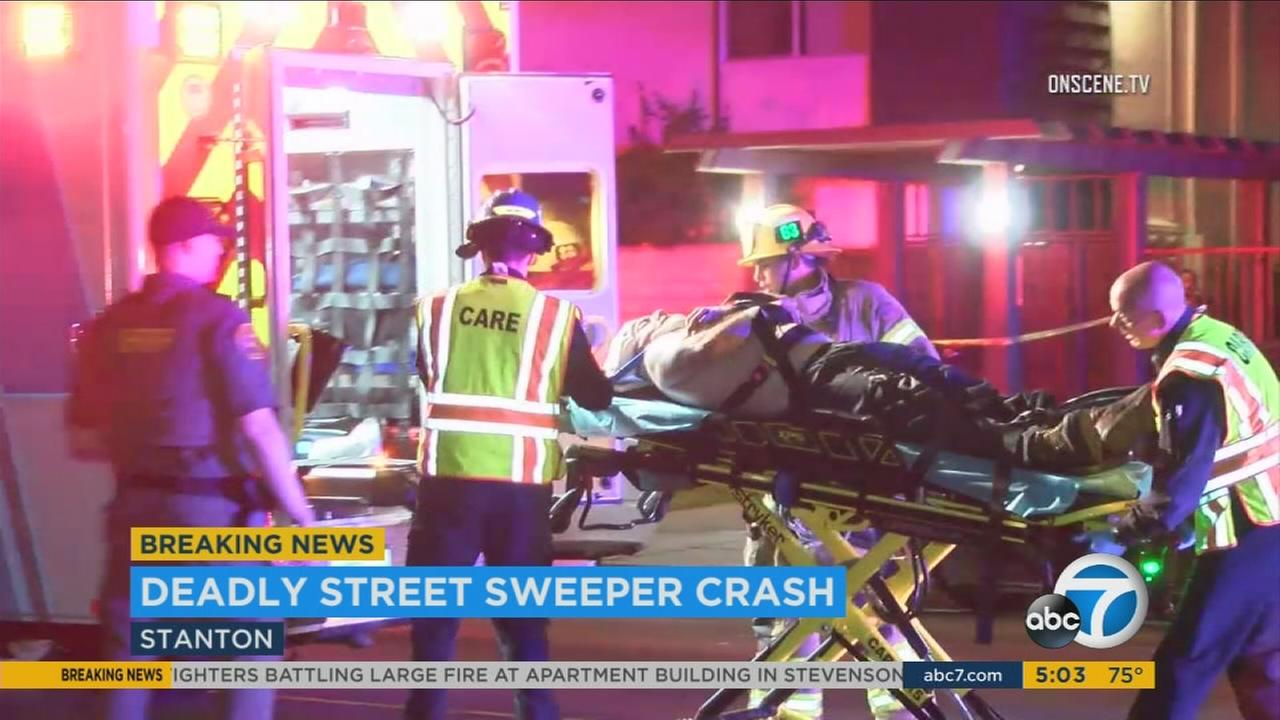 One person is dead and another is in critical condition after a head-on crash involving a street sweeper in Stanton early Thursday morning.