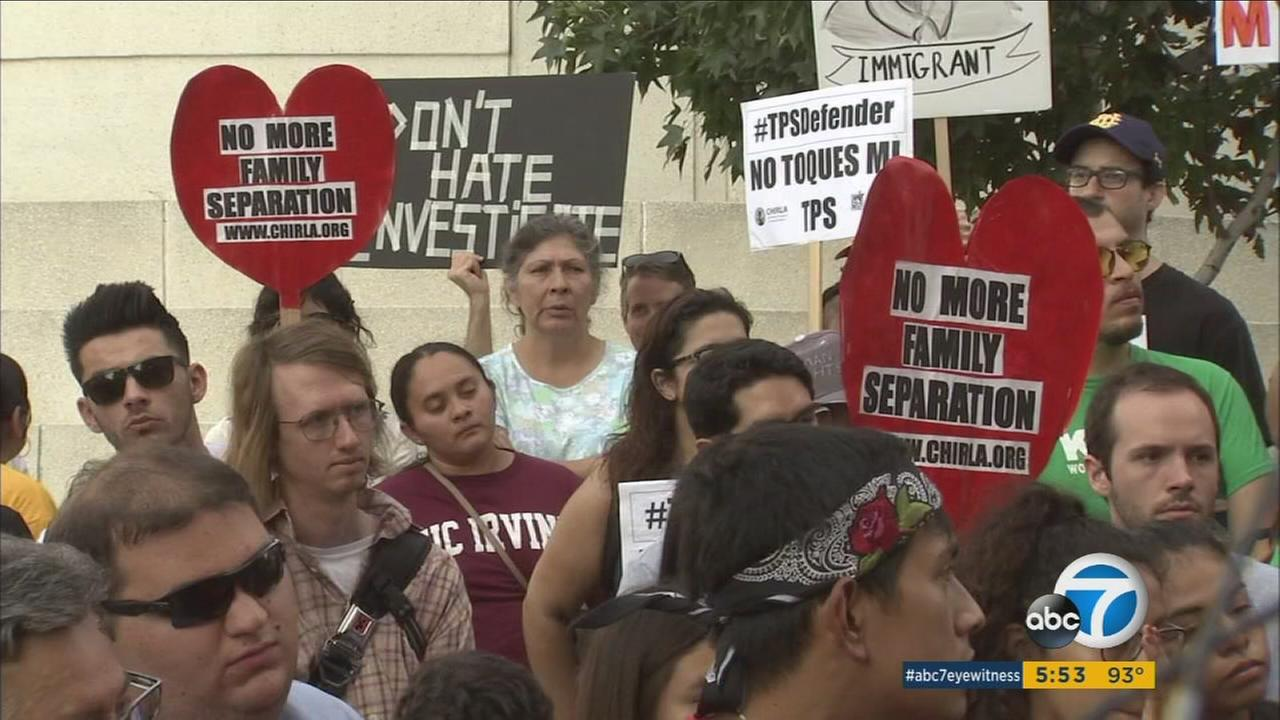Hundreds of people gathered in downtown Los Angeles Friday to express their feelings about an expected decision from President Donald Trump on whether to keep or do away with Obama-era immigration program Deferred Action for Childhood Arrivals.