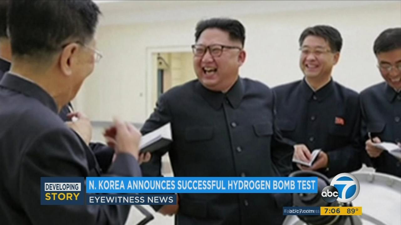 North Korean leader Kim Jong Un smiles after North Korea announced it detonated a thermonuclear device Sunday, Sept. 3, 2017, in its sixth and most powerful nuclear test to date.