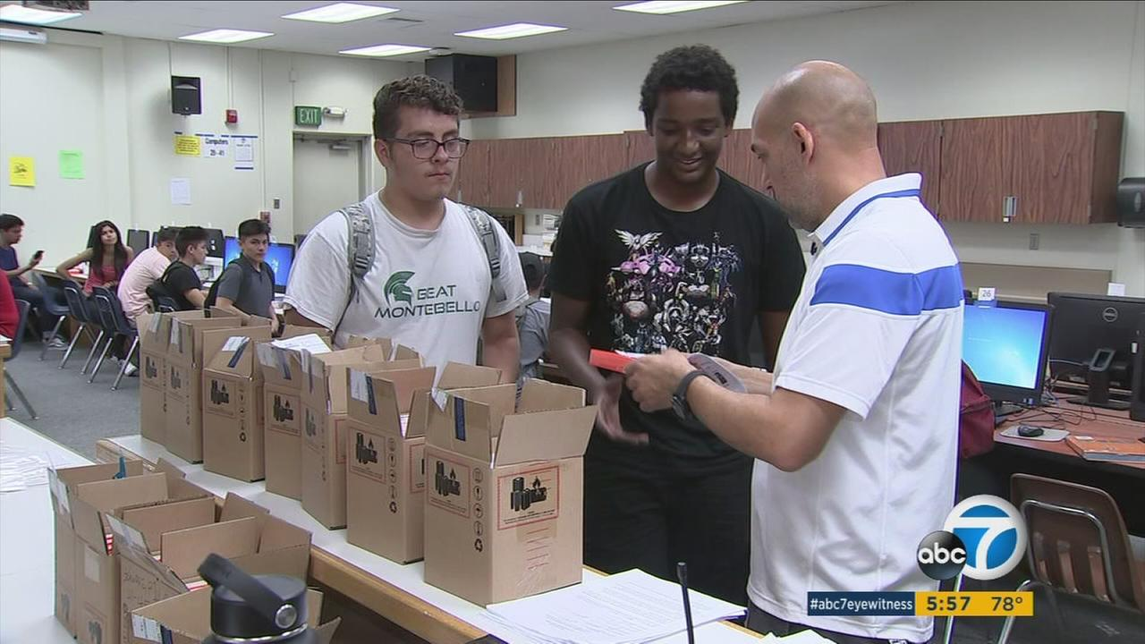 Montebello High School is passing out Internet-equipped smartphones to students, thanks to a corporate grant from Sprint.