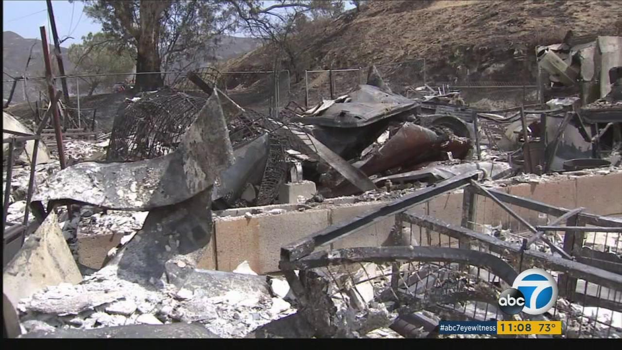 A home destroyed in the La Tuna Fire is shown.