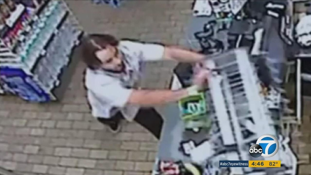 A man was caught on camera rampaging at a 7-Eleven in Santa Ana, trashing merchandise and smashing windows with a bat after a clerk refused to sell him beer.