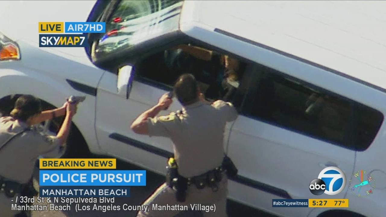 A chase that began at the federal building in Westwood ended with a PIT maneuver in Manhattan Beach.