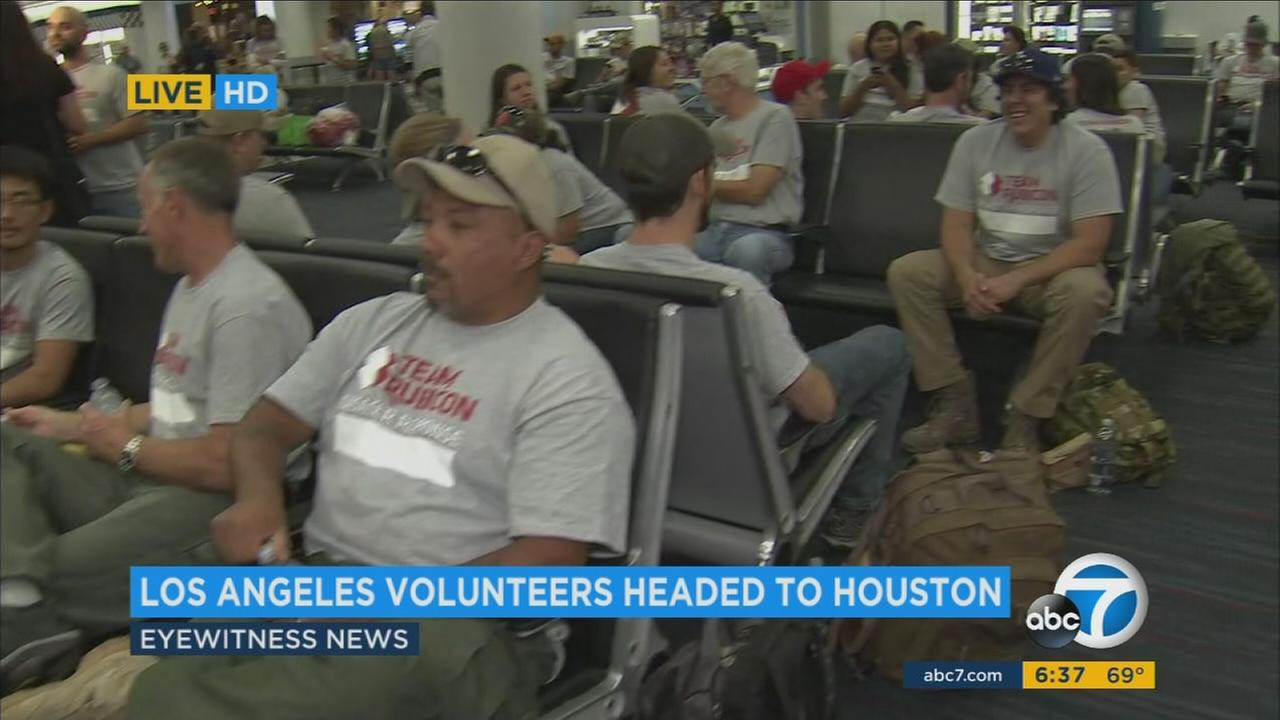 More than 100 Los Angeles-area volunteers were flying to southeast Texas Saturday morning to help provide relief to those affected by Hurricane Harvey.