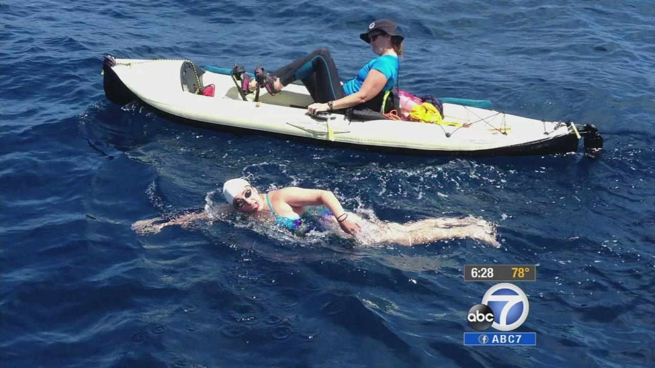 Charlotte Samuels, 16, swims across the Catalina Island Channel on Monday, Aug. 4, 2014.