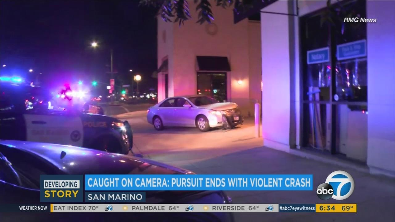 A female chase suspect was injured after crashing into a pole near a library in San Marino Monday night.