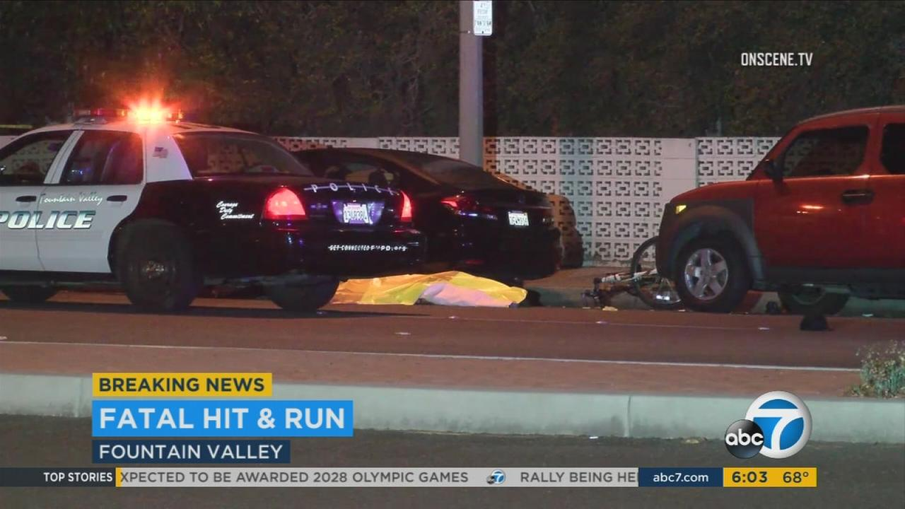 A fatal hit-and-run crash in Fountain Valley early Wednesday morning was so violent that it split the victims bicycle in half, authorities said.