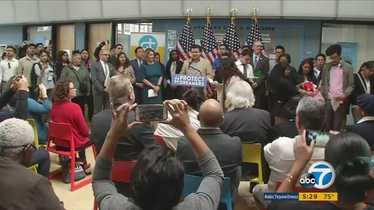 Protesters disrupted a press conference held by Rep. Nancy Pelosi over the DACA issue.